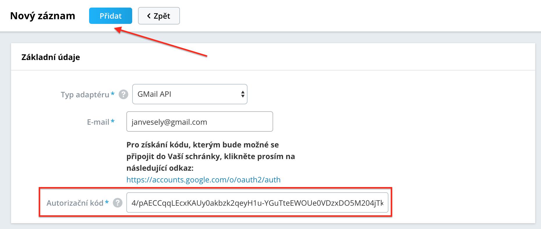 Připojit e-mail